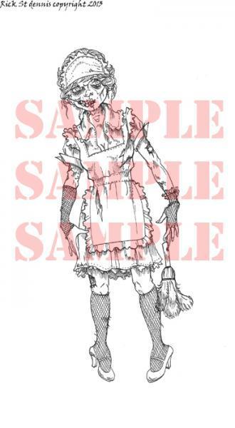 Zombie Chamber Maid digi stamp