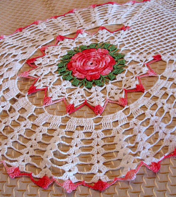 Excellent Vintage Table Runner Crochet Doily Rose Pink by CinfulOldies on Zibbet GC06
