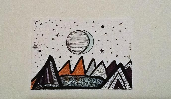 ACEO abstract original Lunar Mountainscape ATC