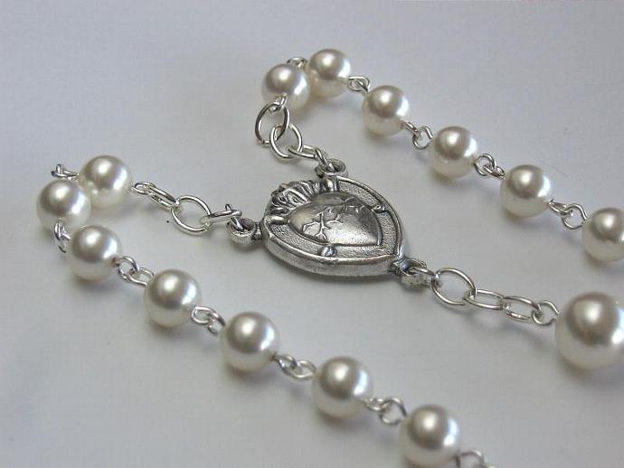 Protestant rosary June birthstone Swarovski pearls