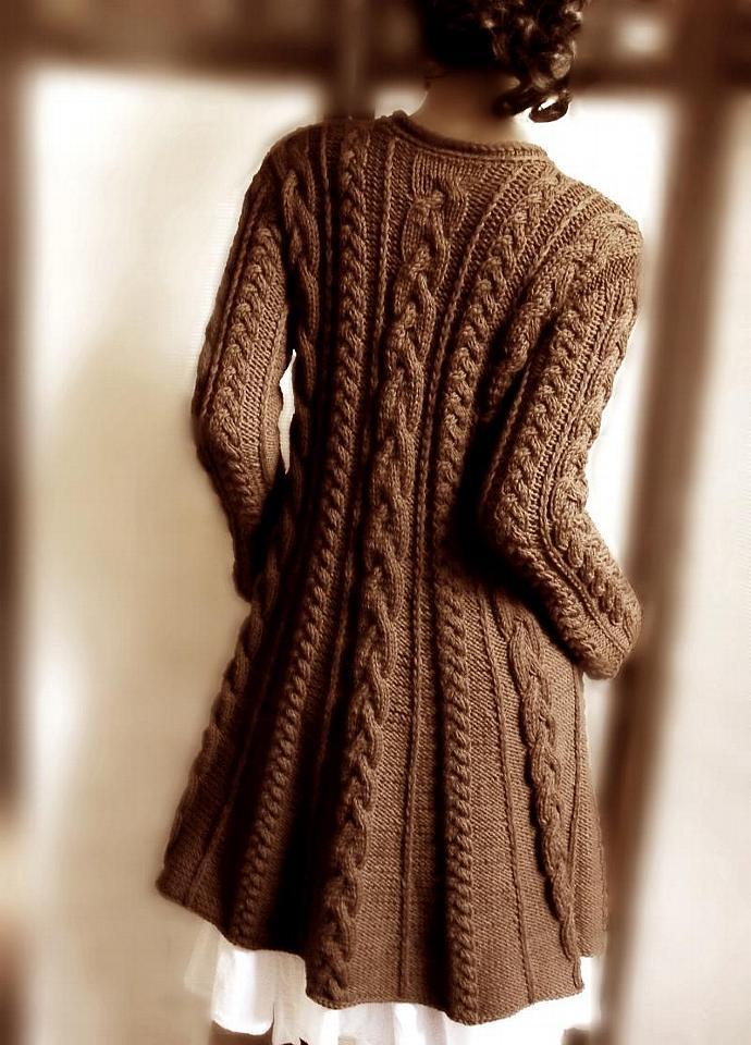 Womens Cable Knit Merino Wool Coat Chocolate Pilland