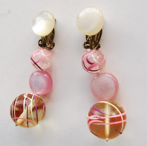 Vintage Earrings Dangle Lucite Pink Painted Signed Japan 1960s