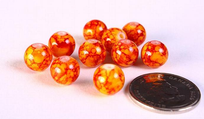 10mm mix color round glass bead orange red - 10 pieces (1206)