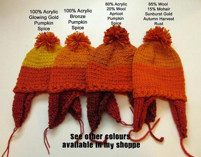 Chunky Hand Knit Ear Flap Pom Pom Hat - Acrylic Wool blend