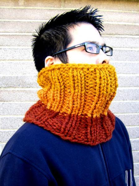 Chunky Hand Knit Cowl Neckwarmer Infinity Scarf - Wool Acrylic Blend