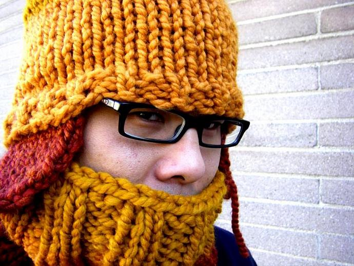 Chunky Hand Knit Cowl Neckwarmer Infinity Scarf - Wool Acrylic Blend