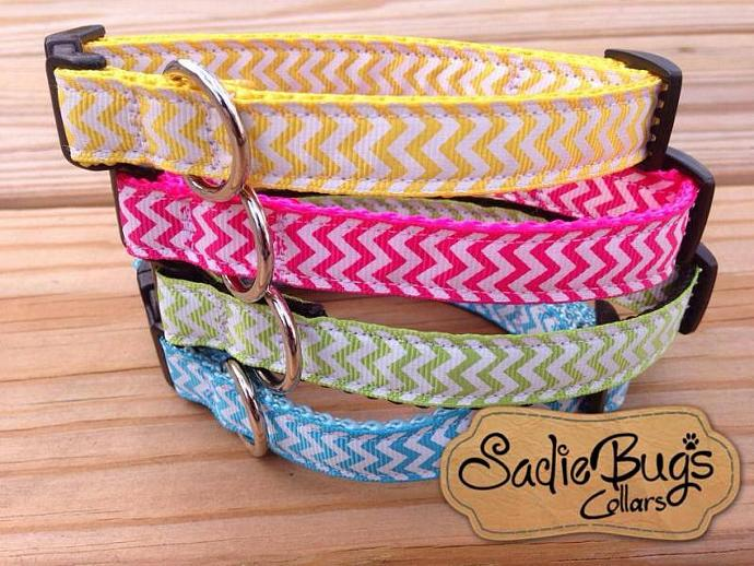Chevron dog collar - You Pick Color