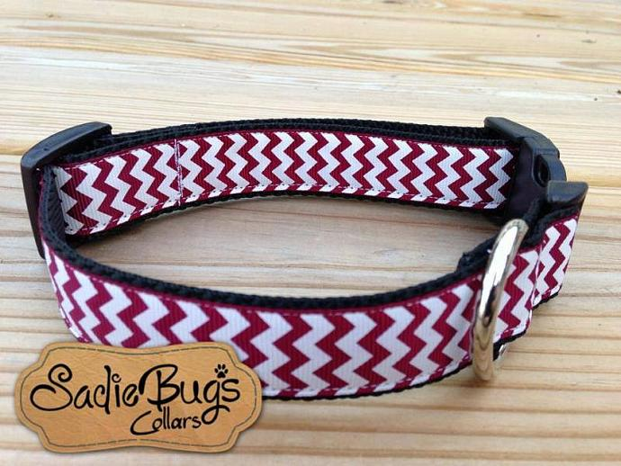 Burgundy and White Chevron Dog Collar