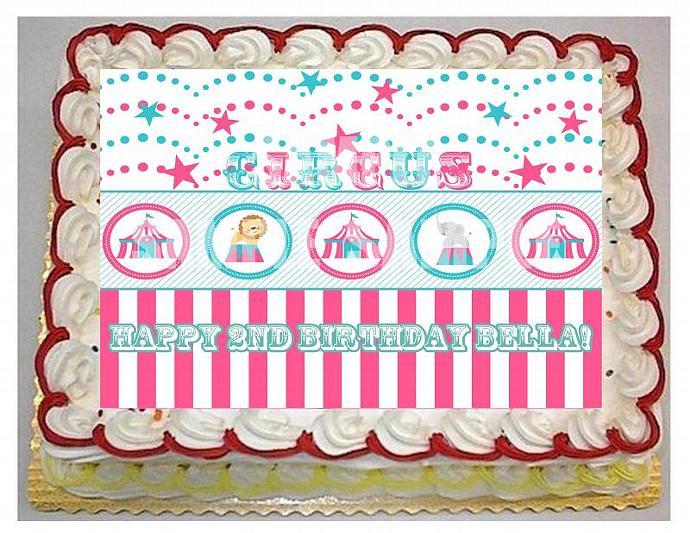 Cute Girl Circus Theme - 1/4 sheet cake topper