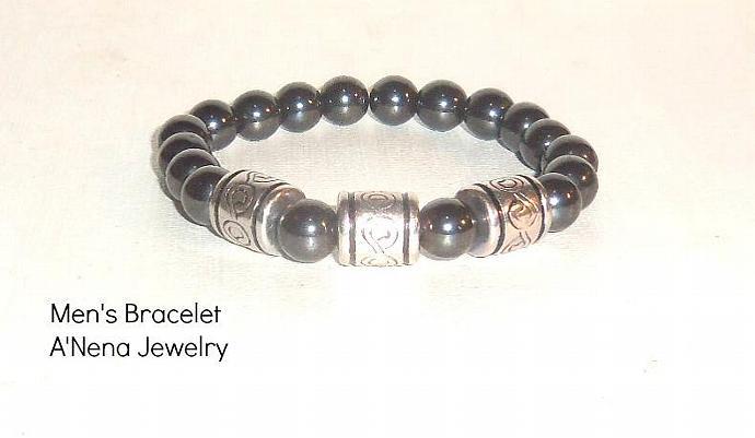 """Men's Bracelet, Hematite """"AMOR"""""""