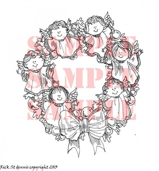 Angel WREATH digi stamp