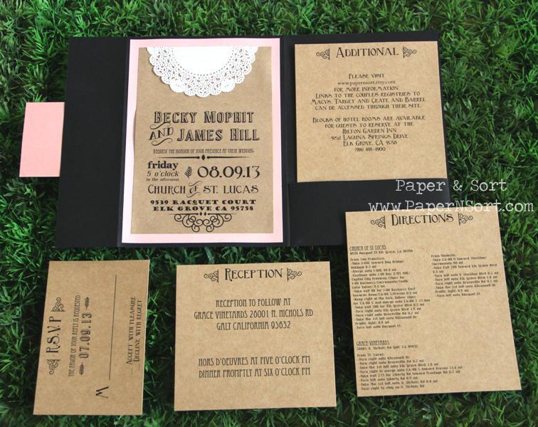 rustic wedding invitation pocket fold by papernsort on zibbet