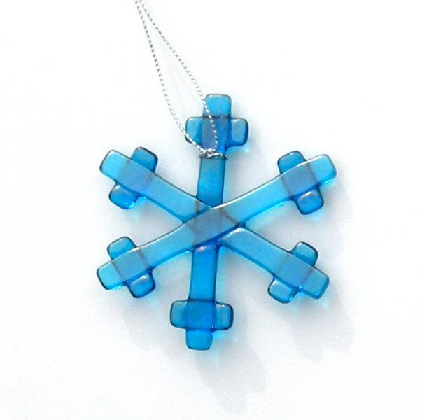 Holiday Ornament, Fused Glass Snowflake, Iridescent Turquoise