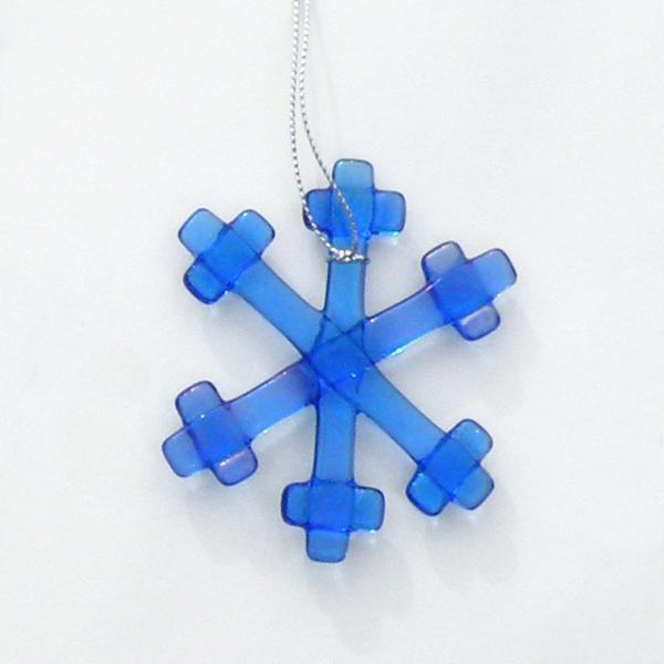 Holiday Ornament, Fused Glass Snowflake, Iridescent Blue