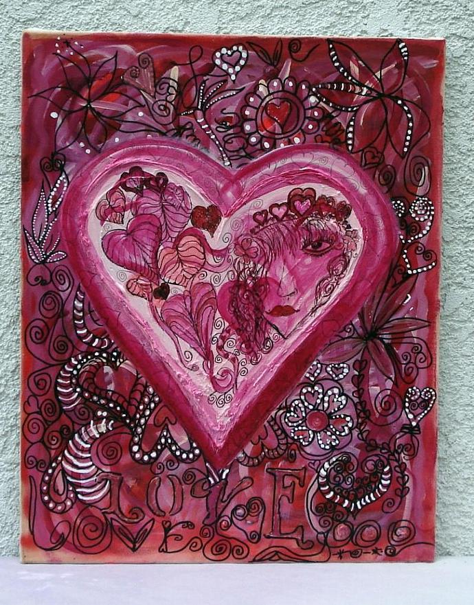 Doodle Love  Original Painting