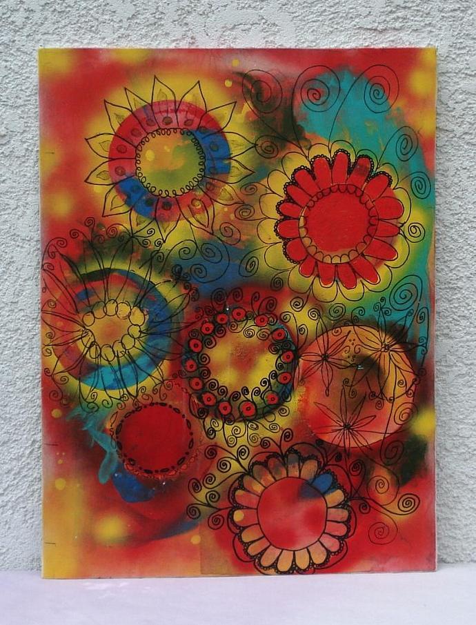 Doodle Sunburst  Original Painting
