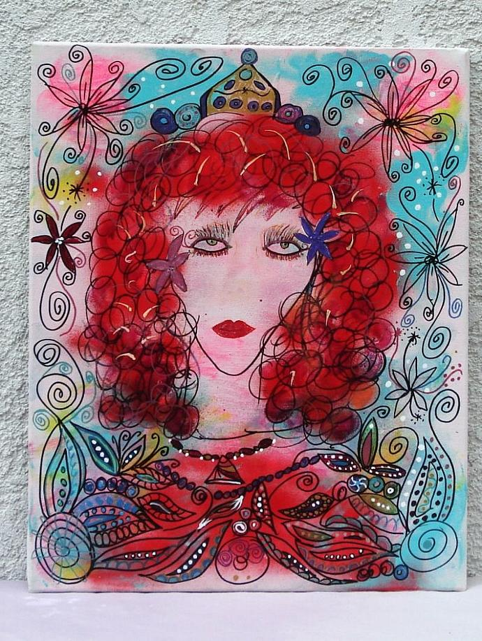 Princess with Red Hair Glam Goddess  Original Painting