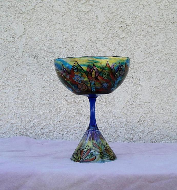 Hand made and hand painted martini glass candy bowl