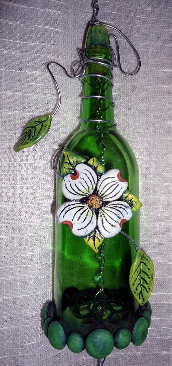 Wind Chime wine bottle with Dogwood Motif
