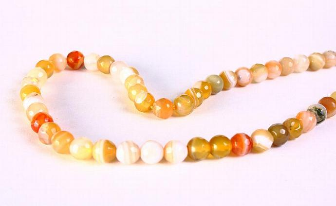6mm Mixed color cream yellow striped agate faceted round gemstone beads - 60