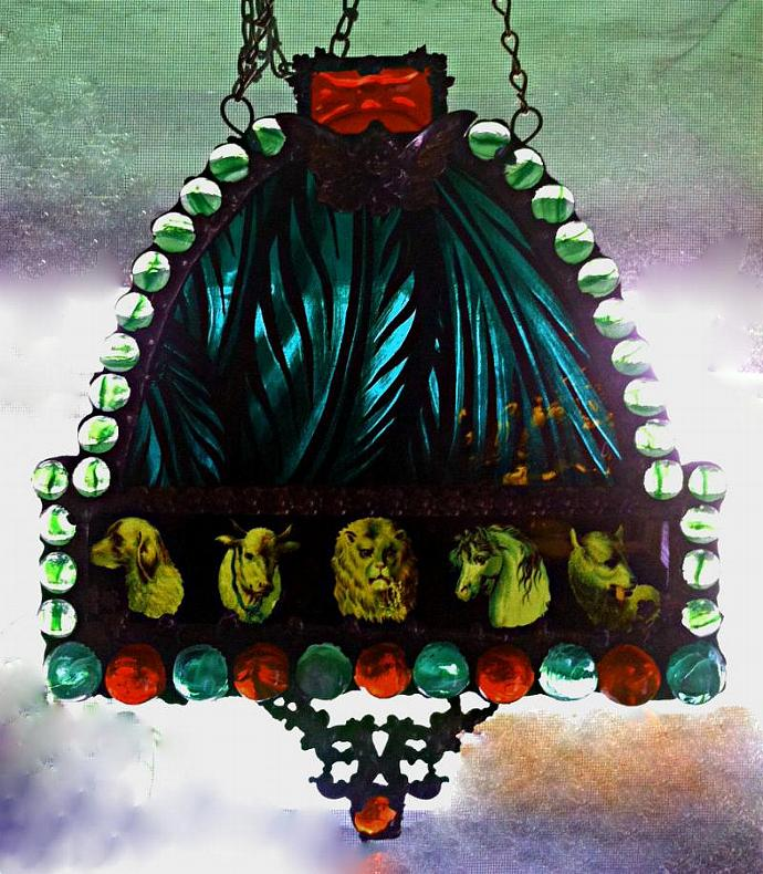 Painted Stained Glass Jeweled Window - Fairy w Antique Image of Animals and
