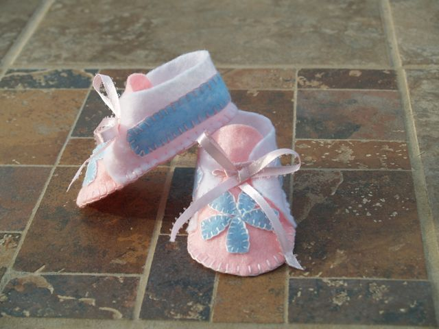 Baby Pink and Blue Handstitched Infant Felt Bootie