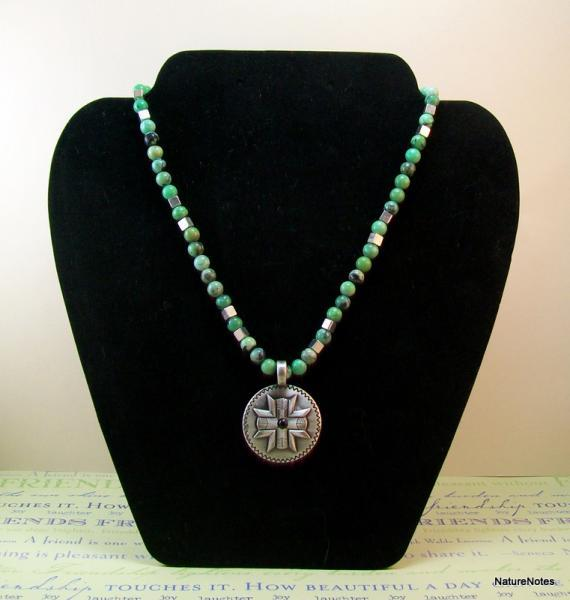 Apple Green Turquoise Necklace with Silver Pendant