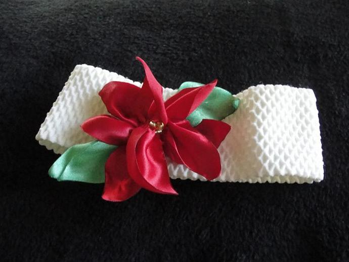 Holiday Poinsettia Flower Headband
