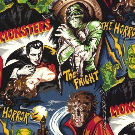 Monsters and Zombies by Robert Kaufman - Half Yard