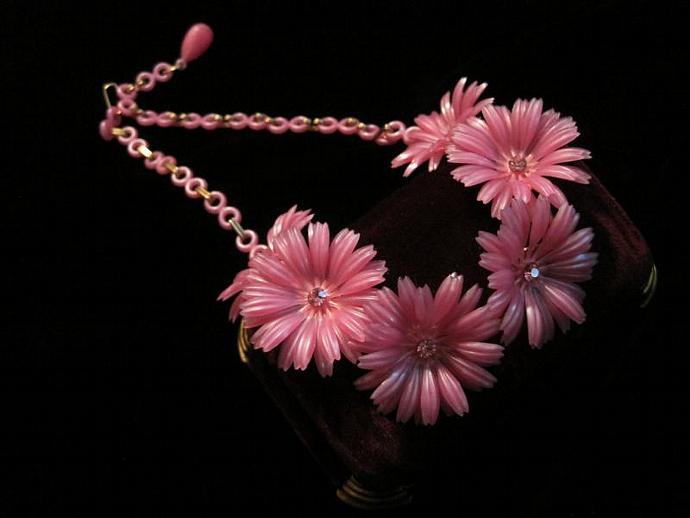 Celluloid flower necklace pink flowers daisies by crissiegirl on celluloid flower necklace pink flowers daisies plastic floral charms rhinestones mightylinksfo