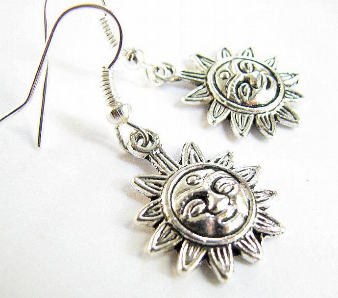 Silver Sunshine Dangle Earrings, Sun Jewelry
