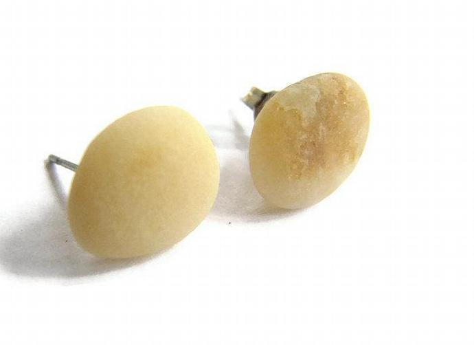 Yellow Beach Stone Stud Earrings, Honey Colored Natural Rock Jewelry