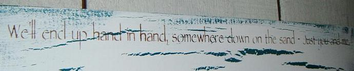 "Beach Wedding Guest Book, wedding signs - ""We'll end up hand in hand, somewhere"