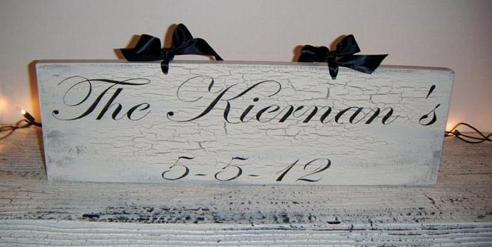 "Personalized wedding sign, Shabby Chic, Cottage - ""We're getting Hitched"" or"