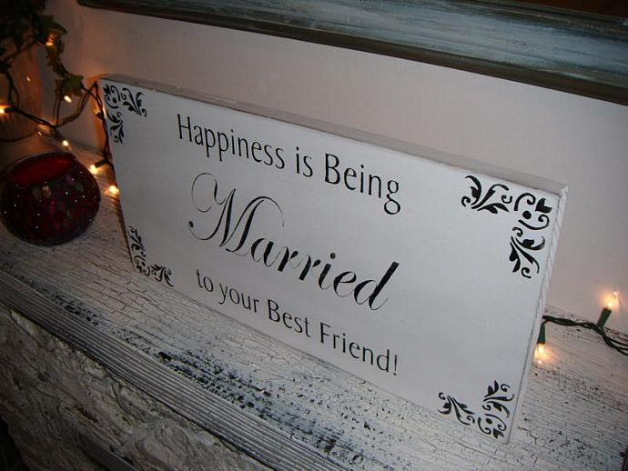 "Elegant Black Tie Wedding Sign, ""Happiness is Being Married to Your Best Friend"""