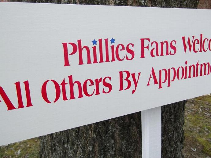 Philadelphia Phillies fan baseball sign - outside parking sign for driveway,