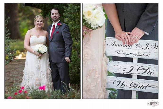 "Directional Wedding Sign, I Do, We Did, Bride & Groom names and ""We're getting"