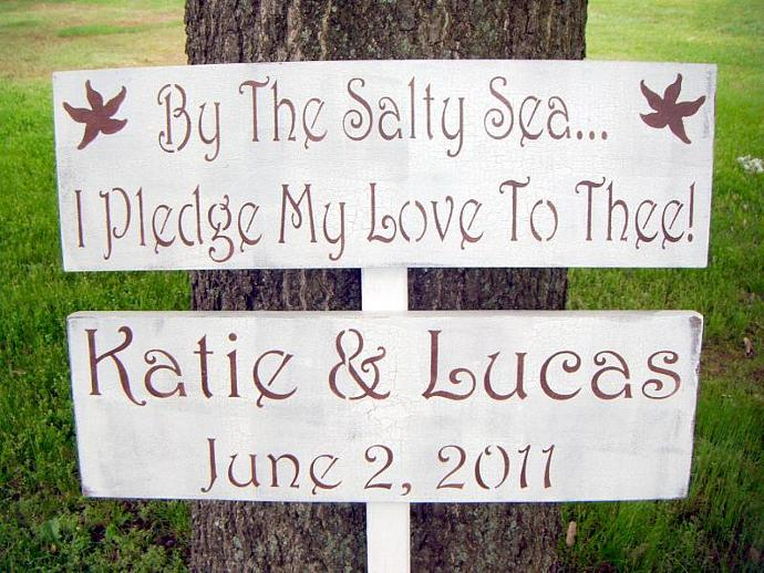 BEACH WEDDING Directional Sign Set - 'By the Salty Sea I Pledge My Love to Thee'