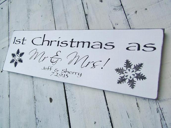 Customized Christmas wedding sign, 1st Christmas as Mr. & Mrs, first anniversary