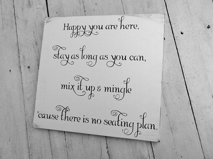 "Wedding Seating Plan Sign, Seating Chart ""Happy you are here,stay as long as you"
