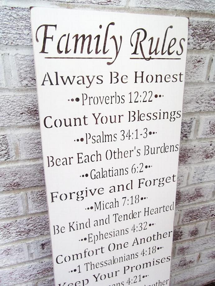 "Bible scripture art,  FAMILY RULES sign ""Always be honest, count your blessings,"