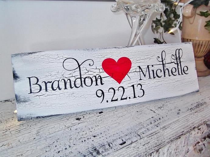 Customized wedding sign - heart sign w bride & groom names, wedding date -