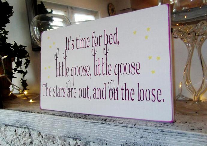 """Baby girl baby boy nursery decor """"It's time for bed little goose little goose"""