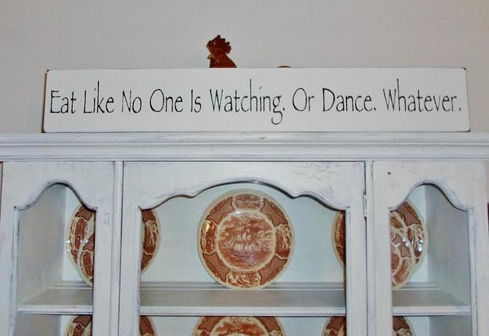"Dining Room Art, Art for Kitchen  ""Eat like no one is watching. Or dance."