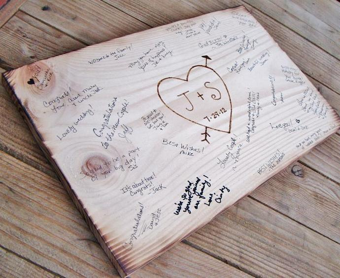 Rustic Wedding Guest Book Alternative, by AndTheSignSays on Zibbet