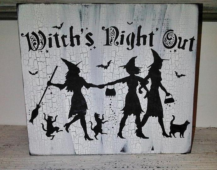 """Halloween Decoration Witch  -  """"Witch's Night Out """" Vintage shabby chic cottage"""