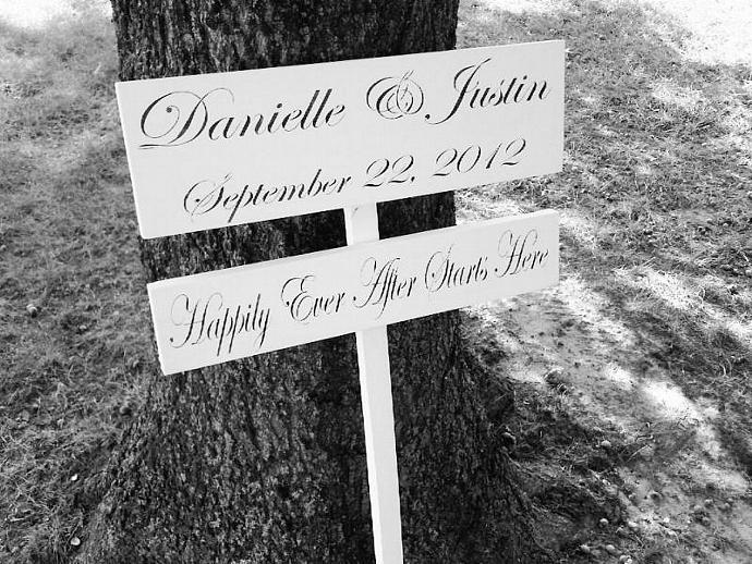Happily Ever After Starts Here Wedding directional sign-customized bride & groom