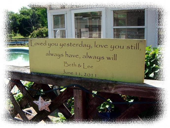 """Wedding Sign  Anniversary Sign Customized bride and groom names & date-""""Loved"""