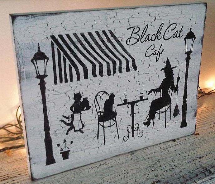 "Shabby Chic Halloween Decoration, Witch Sign, Cottage Cafe -  ""BLACK CAT CAFE """