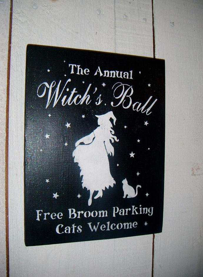 """Halloween Sign,Halloween Decoration, Witch Sign, """"The ANNUAL WITCH'S BALL""""-"""